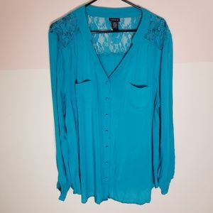 Torrid aqua blue lace back button down blouse-sz.2
